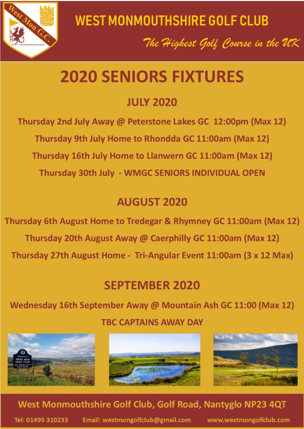 2020 Seniors Fixtures #2